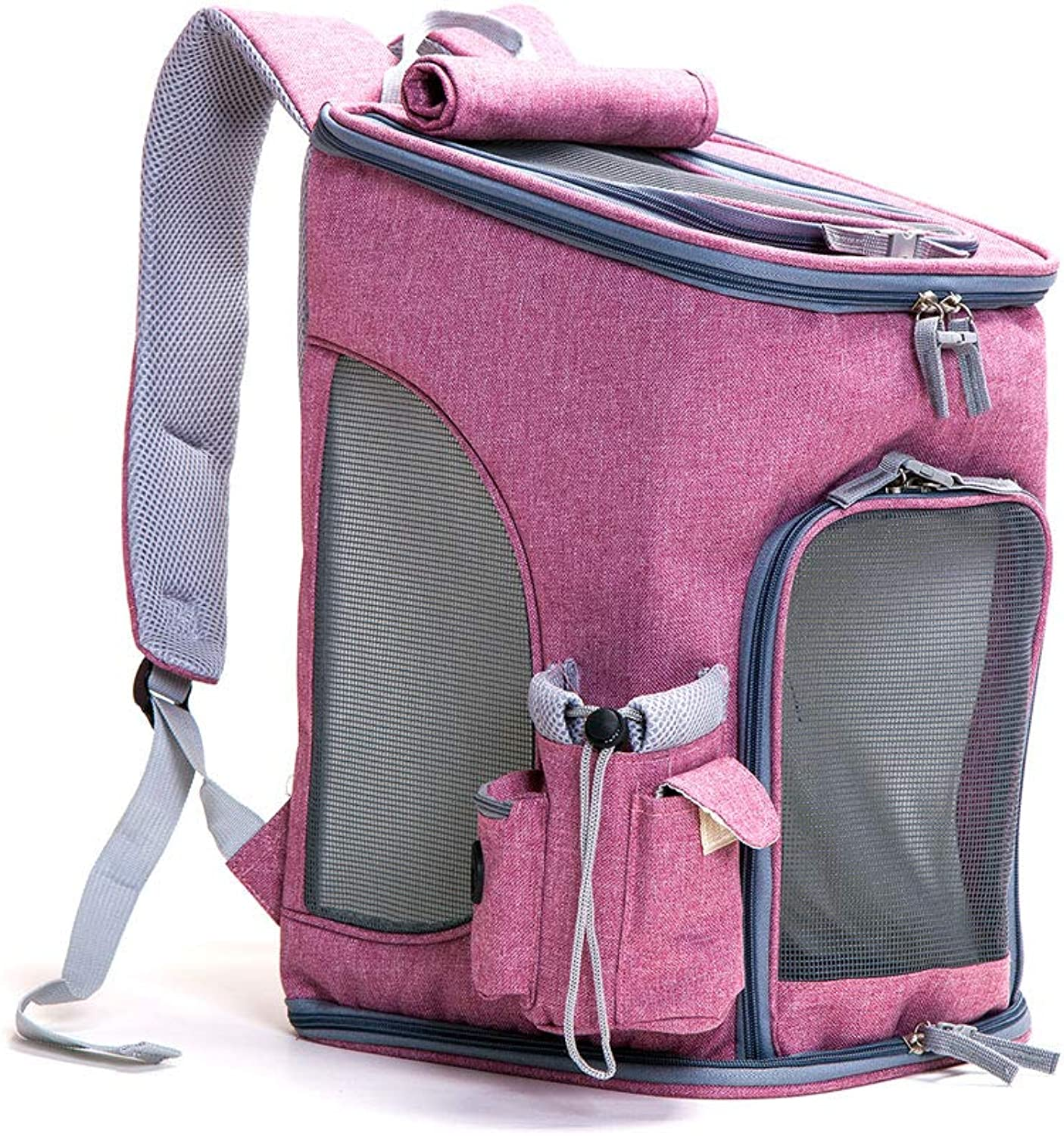 FITIN Pet Backpack Cat Dog Rucksack Portable Collapsible Breathable Pets Pack Medium Dog Bag Suitable For Outdoor Hiking,Pink