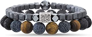 Stainless Steel Blue Brown Black Lava Stone Cubed Beaded...