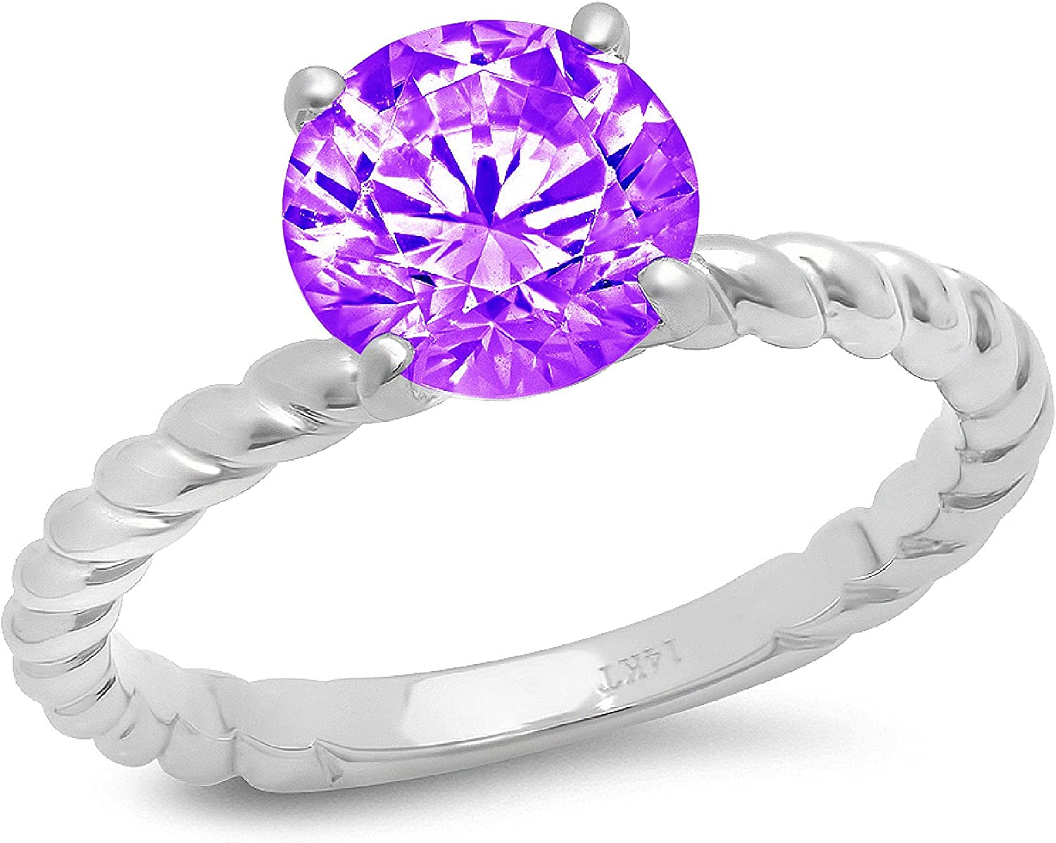 Clara Pucci 2ct Round Cut Solitaire Ranking TOP4 Natural Knot Max 76% OFF Twisted Rope Pu