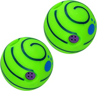 Fenteer 2X Dog Giggle Ball Interactive Dog Toys Squeaky, Wobble Ball Giggle Ball Dog Toy Wab Gifts When it Moves Around fo...
