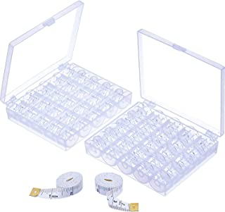 Mudder 50 Pieces Transparent Plastic Sewing Machine Bobbins Spools with Case for Brother Singer Babylock Janome Kenmore, 2 Pieces Measuring Tapes for Craft Using