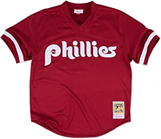 Mitchell & Ness Philadelphia Phillies Lenny Dykstra 1991 Cooperstown Maroon Authentic Practice Jersey