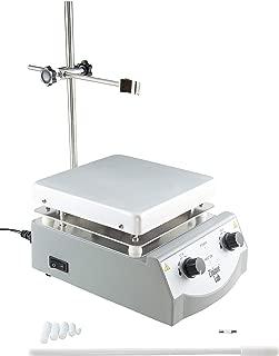 Zinique Lab Hot Plate Magnetic Stirrer, 5 Stir Bars & Retriever Tool Included, 17cm x 17cm Plate (6.5in x 6.5in), 49°C-360° C, 3,000mL, 100-1600rpm Stir Speed, 500W, 110v Plug, 1 Year Warranty