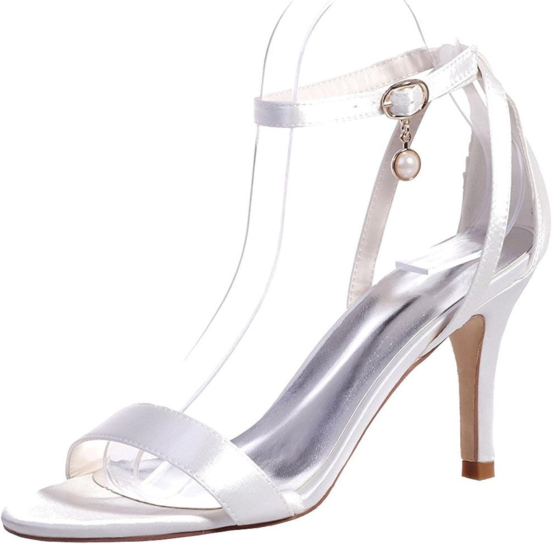Uerescha Women's Elegant Open Toe Satin Ankle Strap Sandals High Heels Bridal Wedding Pumps