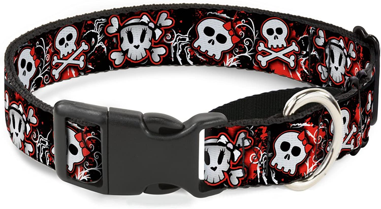 BuckleDown MGCW30747M Martingale Plastic Clip Collar, Girlie Skull Black Red, 1 x1117