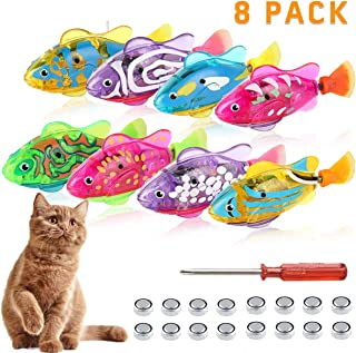 Swimming Robot Fish for Cats, Interactive Cat Fish Toys Fish Tank Toy with LED Light Cat Toy Bath Plastic Fish Toy, Cat Exercise Catch Training Tool for Kittens Kitty Large Medium Small Cats(8 PCS)