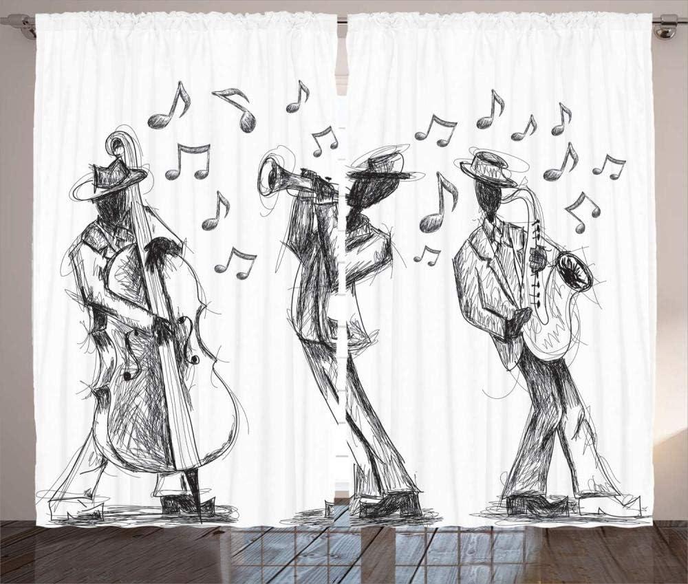 Musik mit Instrumenten und Noten Opaque nsonoriser Draperies BureauRideau Energie Effic MZCYL /Ösen Gardinen BlickdichtVorhang VorhangstoffThermo Verdunklungsvorh/änge140x137cm Skizzenstil der Jazzband