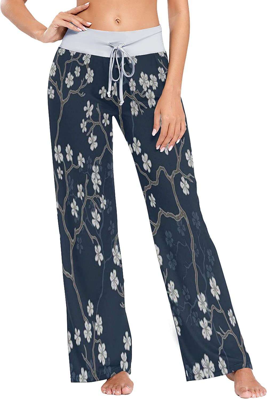 Womens Pajama Lounge Pants Cherry Blossoms Wide Leg Casual Palazzo Pj Sleep Pants Girls