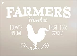 "Farmers Market - Today's Special - Fresh Eggs $2/Doz Word Stencil by StudioR12 - Rooster Word Art - STCL2186 - Select Size (11"" x 8"")"