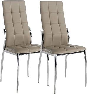 Miroytengo Pack 2 sillas Laci Color Capuchino Polipiel Modernas Comedor Salon Patas cromadas 101x51x45