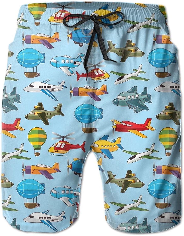 Men's Shorts Airship PlaneBeach Board Short Elastic Waist Trunk Quick Dry Swim With Pockets