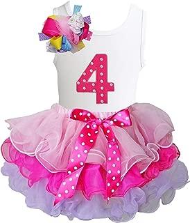 Girls Ruffled Tutu & 1st - 6th Birthday Tee 2pcs Dress Outfit