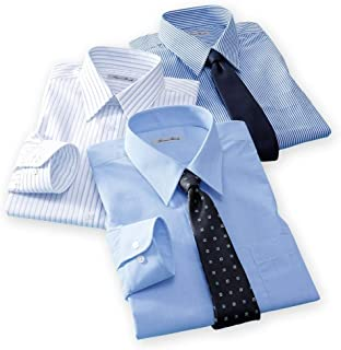 [nissen(ニッセン)] メンズ 大きいサイズ ワイシャツ 長袖 レギュラーカラー 形態安定 抗菌防臭 セット 3枚組 紺ストライプ + 白×サックスストライプ + サックス系 3L 4L 5L 6L 7L 8L