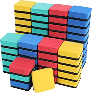 Lawei 60 Pack Dry Erase Erasers - Magnetic Whiteboard Dry Erasers Square Shape Chalkboard Cleaner Wipe for Classroom Home Officer, 4 Assorted Colors (Blue, Red, Green, Yellow)