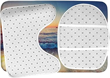 WXZQNN Alfombra De Baño Antideslizante Juego De Alfombra De 3 Piezas Vista del Atardecer En La Orilla De La Playa Alfombra De