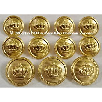 Set of 10 x 15mm Gold Crest Blazer Jacket Coat Buttons Military Style Shank