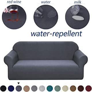 Granbest Premium Water Repellent Sofa Cover High Stretch Couch Slipcover Super Soft Fabric Couch Cover (Gray, Loveseat)