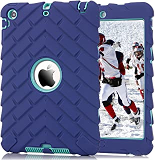 iPad Mini 1 2 3 Case, ZHK Rugged Shockproof Anti-Slip Hybrid Hard Shell+Silicone Rubber Bumper Protective Case with Kickstand for Apple iPad Mini 1st 2nd 3rd Generation - Purple Mint Green