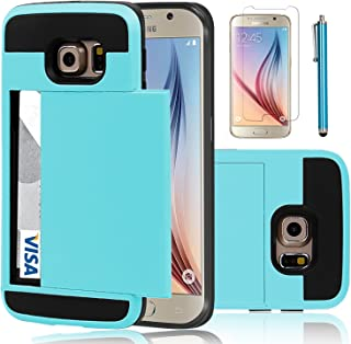 Elegant Choise Compatible with Galaxy S6 Case, Samsung Galaxy S6 Wallet Case, Hybrid High Impact Resistant Protective Shockproof Hard Shell with Card Holder Slot Cover Compatible for Samsung S6(Blue)