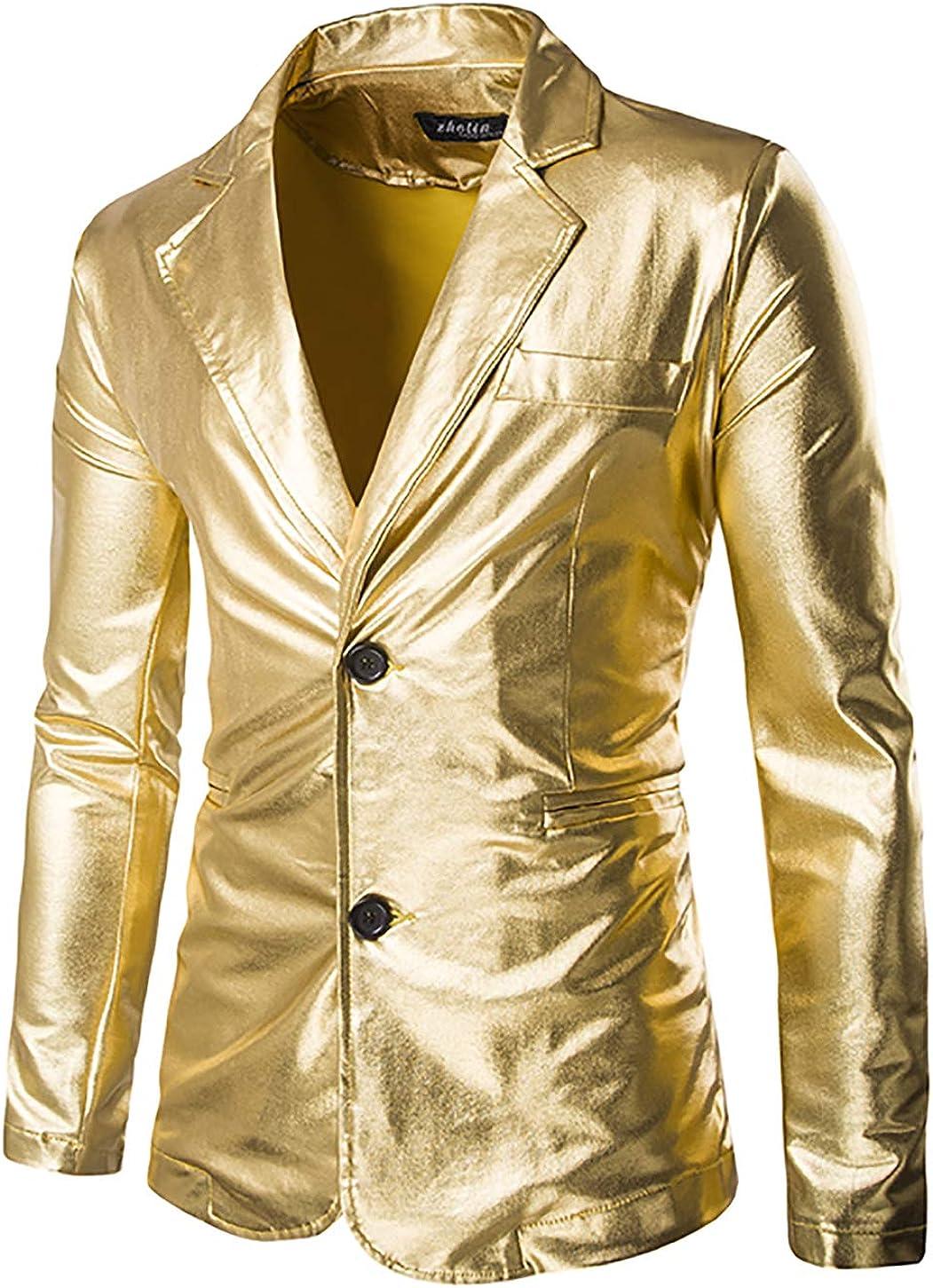 VSVO Men's Slim Fit Shiny Metallic Two Button Suit Jacket/Night Club Blazer