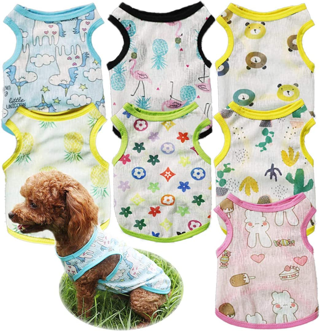 TVMALL 7 Pieces Dog 2021 new Shirts Pet Puppy Breath 5 ☆ very popular Cute T-Shirt Printed