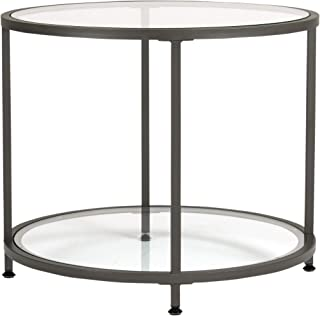 Studio Designs Home Camber Round Side Table End Table Glass Coffee Table In Pewter With Clear Glass, 71004