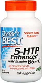Doctor's Best 5-HTP Enhanced with Vitamins B6 & C, Non-GMO, Vegan, Gluten Free, Soy Free, 120 Veggie Caps