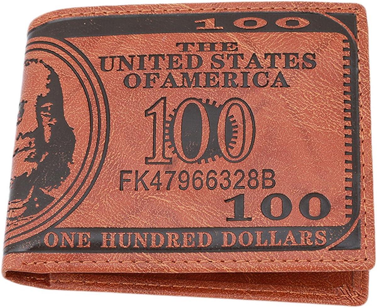 CH Mens US $100 Dollar Bill Leather Bifold Card Holder Wallet Handbag Purse