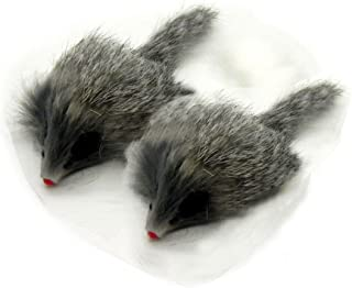 Kats'N Us Real Rabbit Fur Long Hair Mouse Cat Toy - 2pk Gray