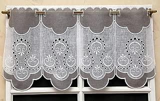 avec Passe-Tringle heimtexland Voilage Jacquard fen/être en Forme de Feuille M-Bogene Hauteur : 95 cm x Largeur : 120 cm Couleur : Blanc Largeur : 90-110 cm