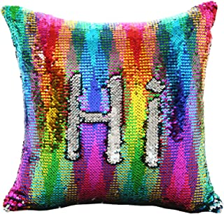 "URSKYTOUS Reversible Sequin Pillow Case Decorative Mermaid Pillow Cover Color Changing Cushion Throw Pillowcase 16"" x 16"",Rainbow and Silver"