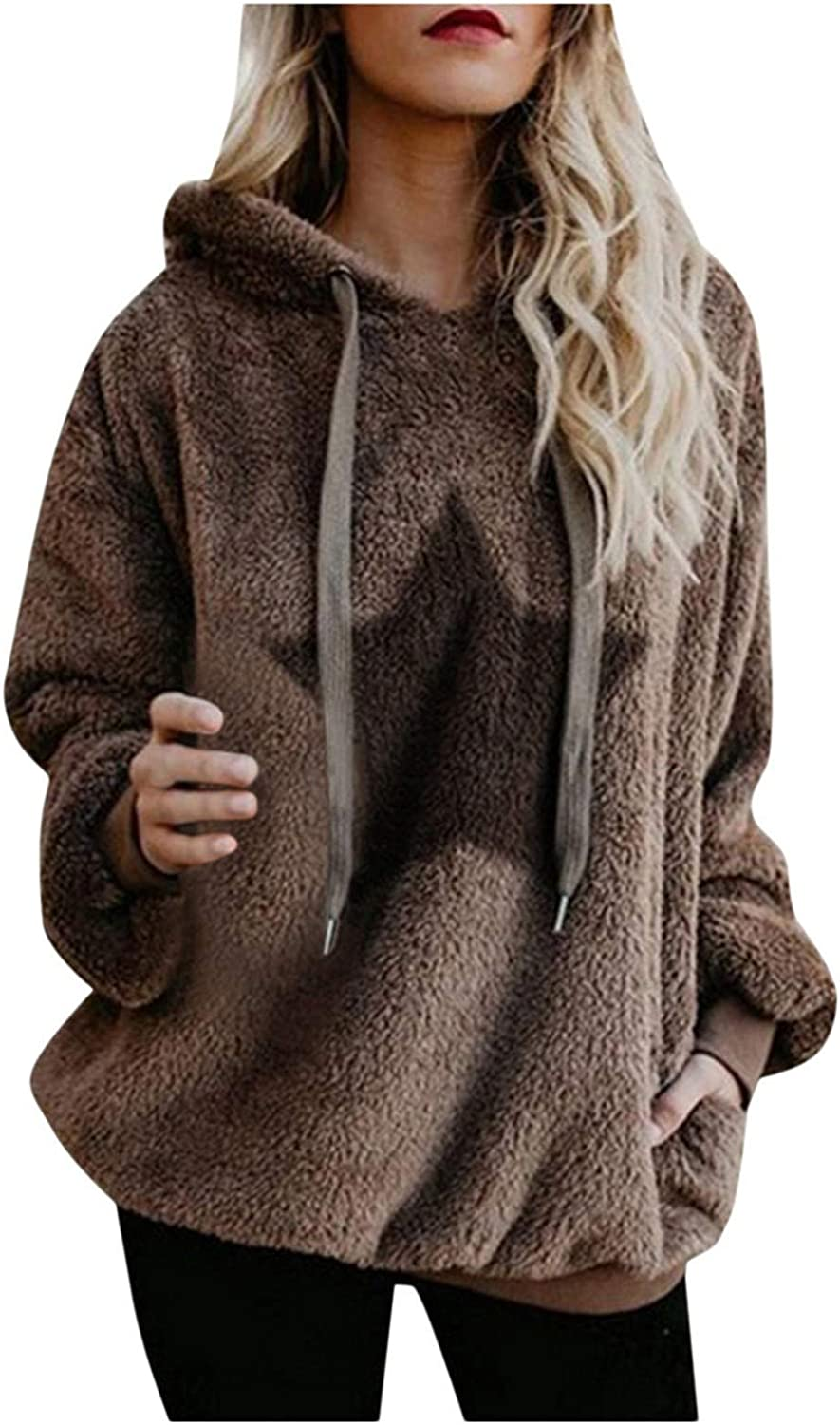 haoriuc Faux Fur Jackets for Women Dressy Shaggy Cropped Pullover Hoodie Plus Size Soft Fuzzy Sweaters Coat