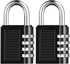 [2019 Upgrade] BYETOO Combination Lock for Locker Outdoor,Towoke Resettable Weatherproof Combination Padlock,4 Digit Smooth Dial,Zinc Alloy Lock for School,Gym Locker,Fence,Case,Hasp Cabinet,2Pack