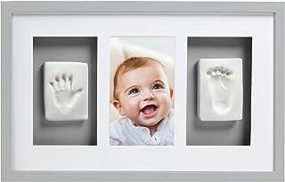 Pearhead P63001 Baby avtryck Deluxe väggbildram med inkluderat set för hand/fotavtryck, perfekt shower present souvenir, grå