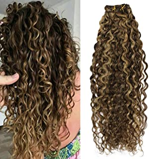 Moresoo 22 Inch Double Weft Remy Human Hair Extensions Natural Wave Hair Extentions Real Human Hair Clip in #4 Dark Brown Mixed with #27 Full Head Human Hair 7PCS 120G
