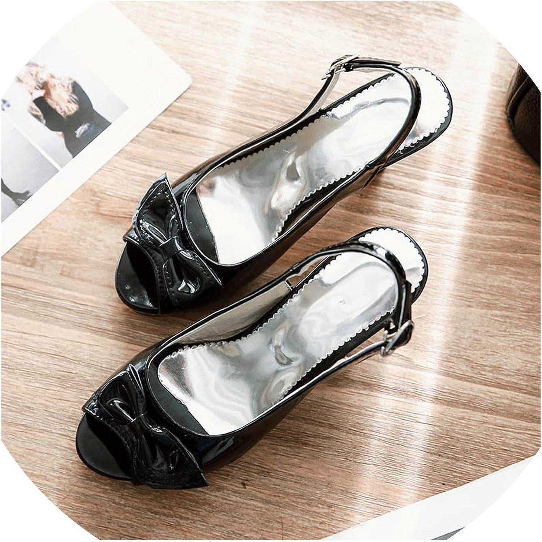 QianQianStore Peep Toe Spike Heels Buckle Strap Platform Sandals bluee High Square Heel Butterfly-Knot Pumps