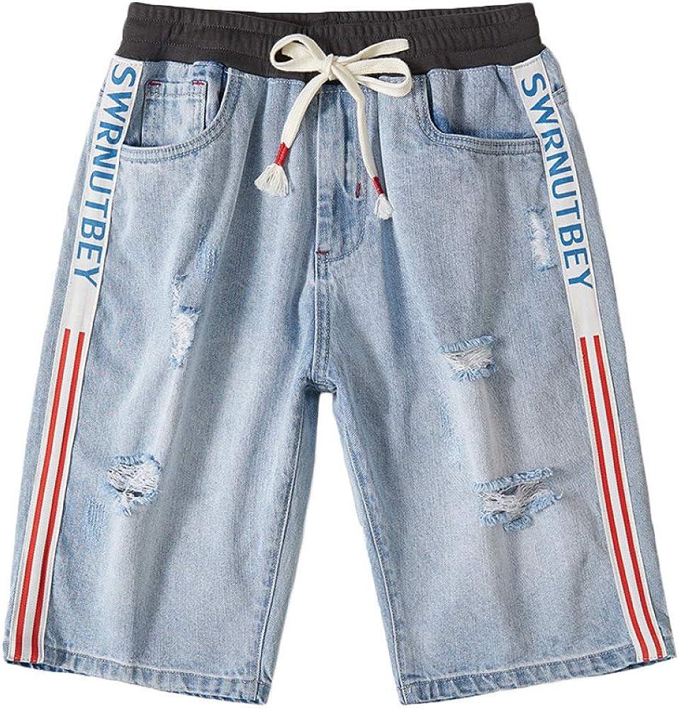 brandless Men's Denim Shorts Hole Elastic Waist Five-Point Shorts Retro Loose Casual