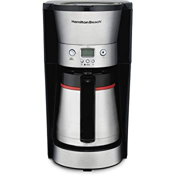 Hamilton Beach Thermal 10-Cup Coffee Maker, Programmable, Cone Filter, Flexible Brewing, Stainless Steel (46899A)