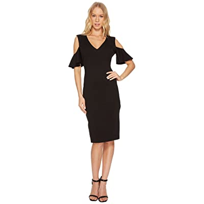 CATHERINE Catherine Malandrino Ruffle Sleeve Bodycon Dress (Black Beauty) Women