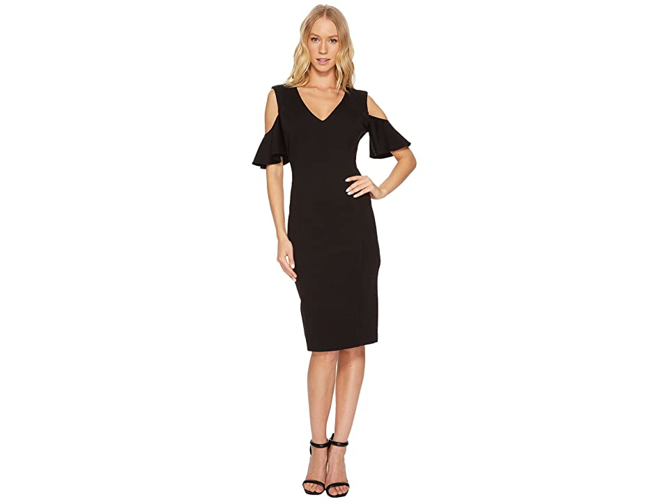 CATHERINE Catherine Malandrino Ruffle Sleeve Bodycon Dress (Black Beauty) Women