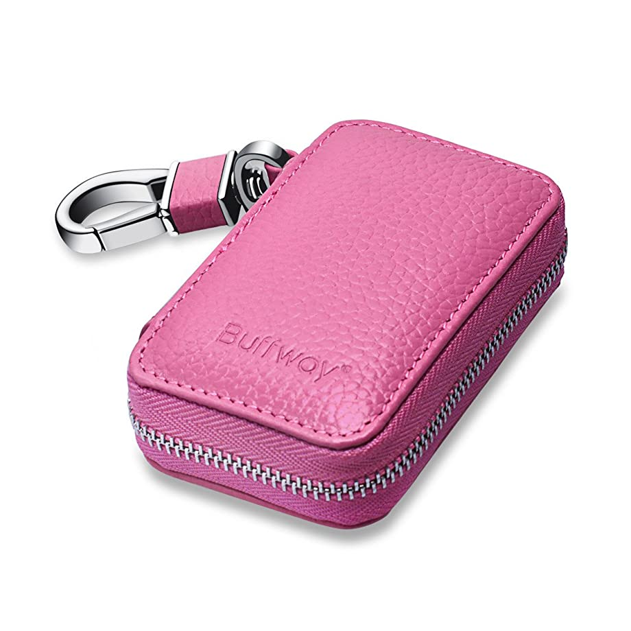 Buffway Car Key Cover,Genuine Leather Car Smart Key Chain Coin Holder Metal Hook and Keyring Wallet Zipper Bag for Auto Remote Key Fob - Pink