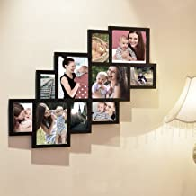 Adeco 10 Openings Decorative Black Wood Wall Hanging Print Picture Photo Cluster Collage Frame - Made to Display Four 8x10, Five 5x7, and One 4x6 Photos