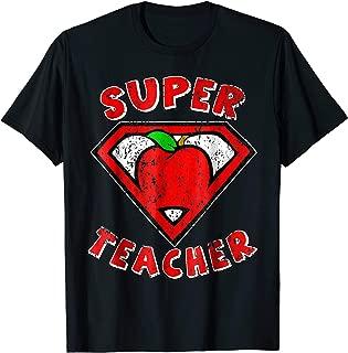 Funny Cute Distressed Super Teacher Superhero Apple Shirt