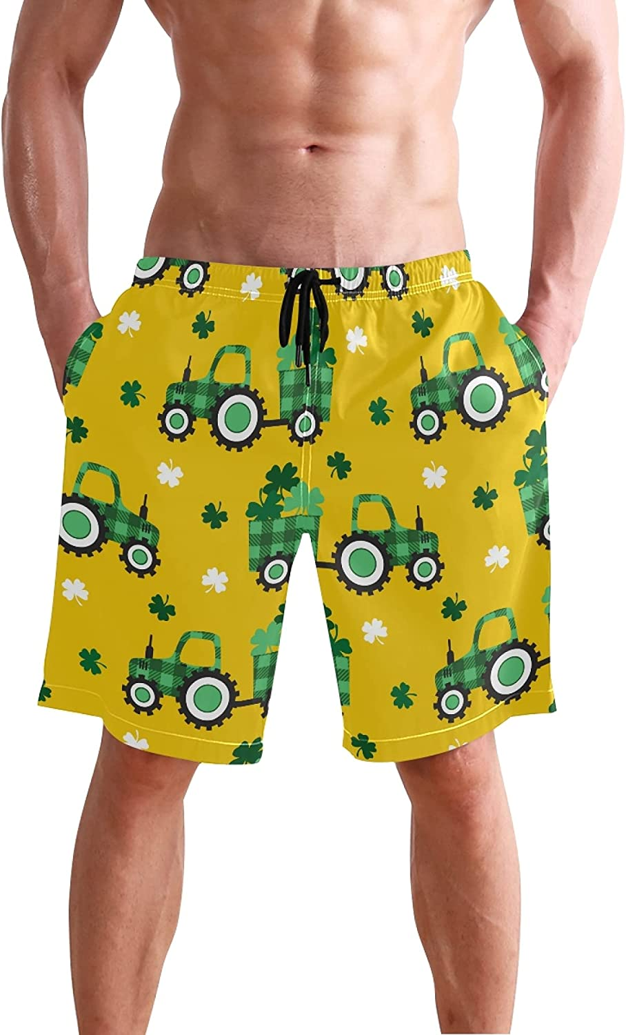 Beach Shorts Check Tractor Trailer Clover Leaves Butterfly Quick Dry Sports Swim Trunks Running Board Shorts for Man Boys
