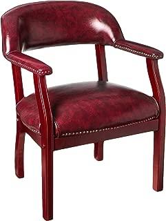 Boss Captain's Chair In Burgundy Vinyl