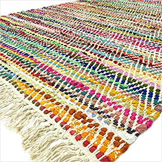 Eyes of India - 4 X 6 ft White Chindi Decorative Colorful Woven Rag Multicolor Rug Bohemian Boho Indian