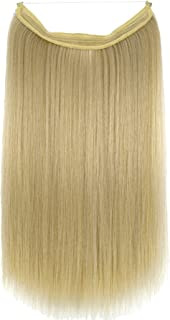 TOPREETY Halo Hair Extensions Invisible Elastic Wire Hidden Hairpieces No Clip No Glue No Tape Heat Resistant Synthetic Fiber S90-15A/613