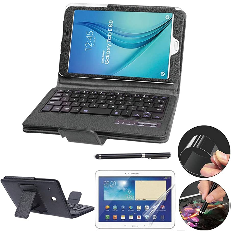 Galaxy Tab E 8.0 Keyboard Case with Screen Protector & Stylus, REAL-EAGLE Slim Separable Fit PU Leather Case Cover Wireless Keyboard for Tab E 8.0 Inch T375 T377 T377V / SM-T377 4G LTE,Black