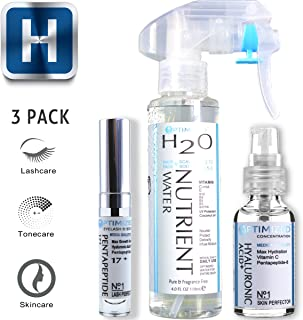 Best Anti-Aging 3 Pack Skin, Hair & Lash System by OPTIMIZED, Professional Grade Hyaluronic Acid HA plus Vitamin C, Balancing Facial Toner, and P17 Lash Growth - Love it or your!