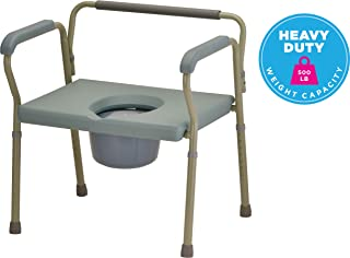 NOVA Heavy Duty Bedside Commode, Extra Wide Seat, 500 lb. Weight Capacity, Seat Height Adjustable, Stand Alone or Over Toilet Bariatric Commode, Grey